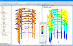 3D Model and Deformation of Look-Out Tower in RSTAB (© WIEHAG GmbH)