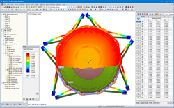 Top view of the deformed structure in RFEM