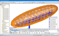 RFEM model of airship made of timber and steel (© Ing. Šrůtek)