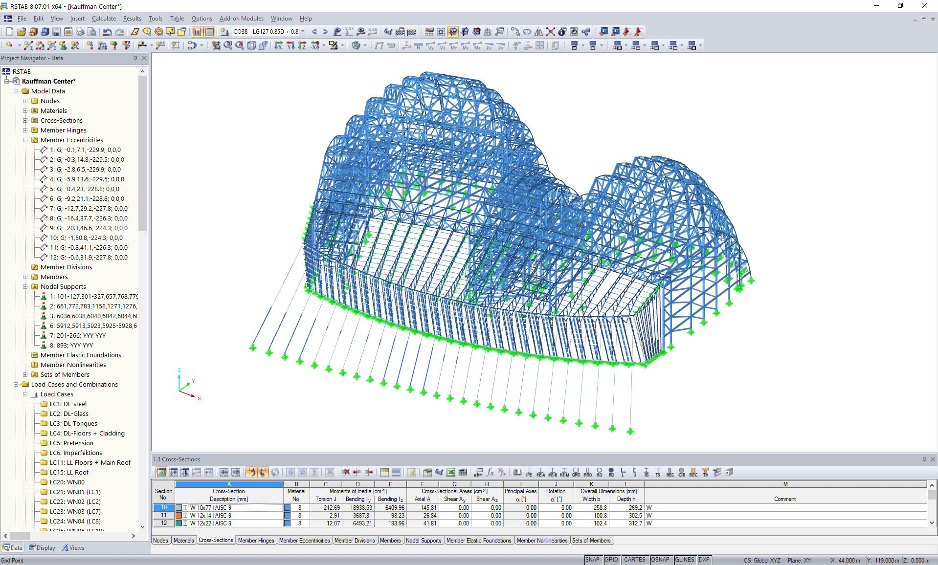 3D model of steel supporting structure of atrium in RSTAB (©www.novumstructures.com)