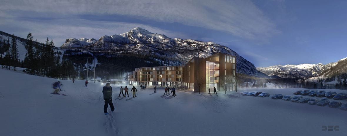 Animation of Hemsedal Alpine Suites in Norway (© DBC AS)