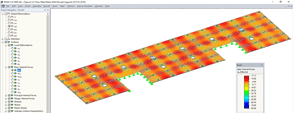 Display of internal forces of the CLT floor panels in the RFEM model © Fast + Epp