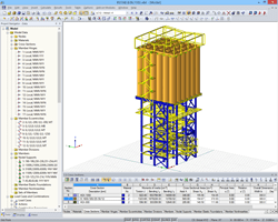 3D model - Supporting structure of the dry mixing plant in RSTAB (© Dietz Würtele)