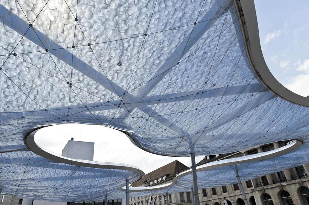 Bottom view of air-cushioned membrane roof (© Niklaus Spoerri)