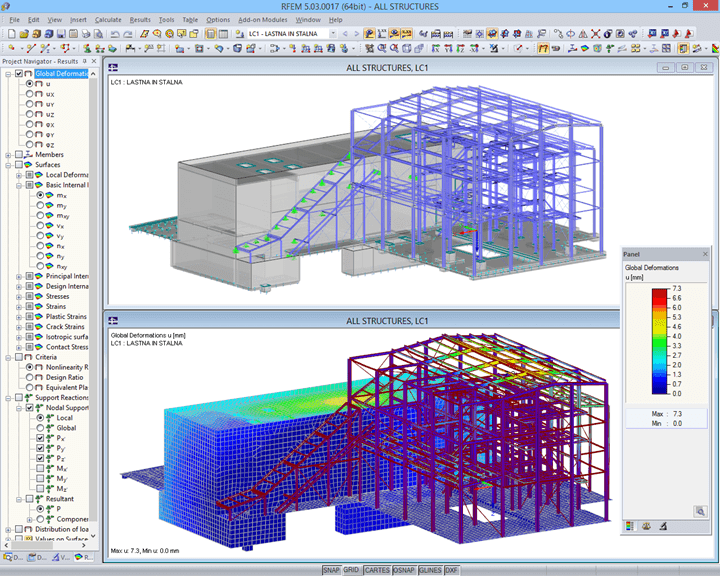 Model and deformation of boiler house in RFEM (© AG-inženiring d.o.o.)