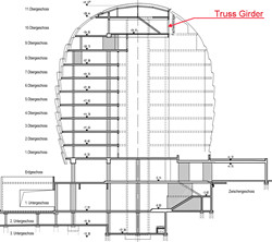 Sectional drawing with truss girder in 10<sup>th</sup> story (© Sailer Stepan & Partners)