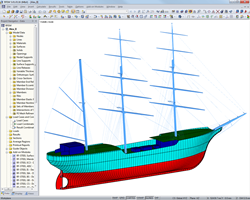 "Presentation model of ""Alexander von Humboldt II"" in RFEM (© Wollert)"