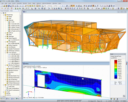 3D overall model (top) and design internal forces of a cross-laminated timber wall (bottom) in RFEM (© Schrentewein & Partner)