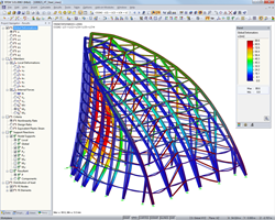 Structural model in RFEM showing deformation of tower spire (© Werner Sobek Stuttgart)