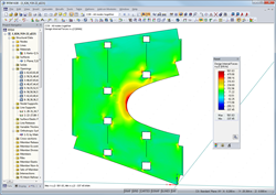 Dimensionamento de painel com as medidas 4 m x 6 m no RFEM (© Finnforest)