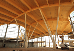 Interior view of timber roof structure (© ATP)