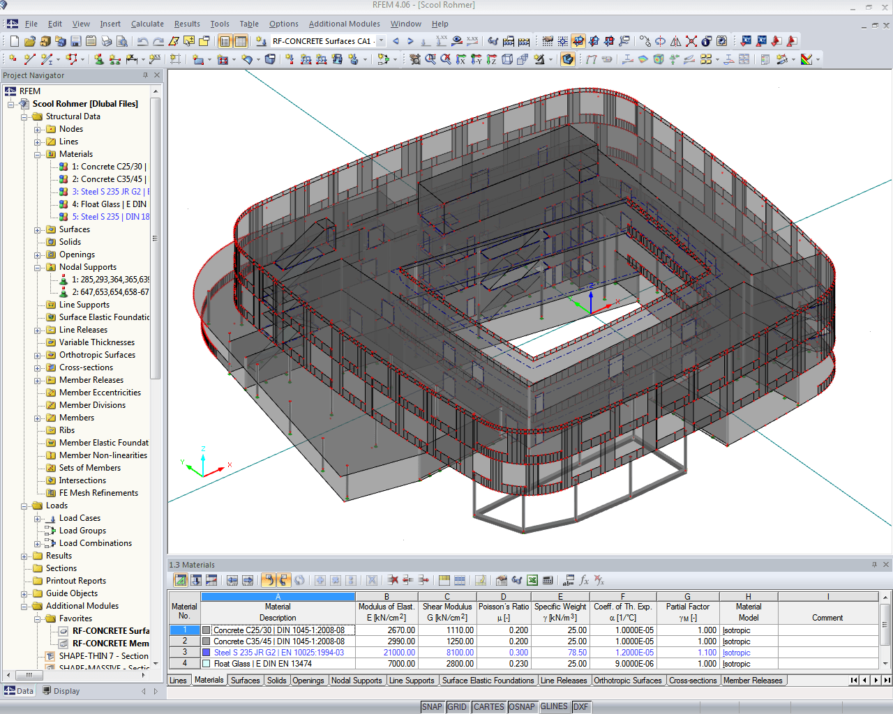 Entire analysis model of school building in RFEM (© Rohmer)