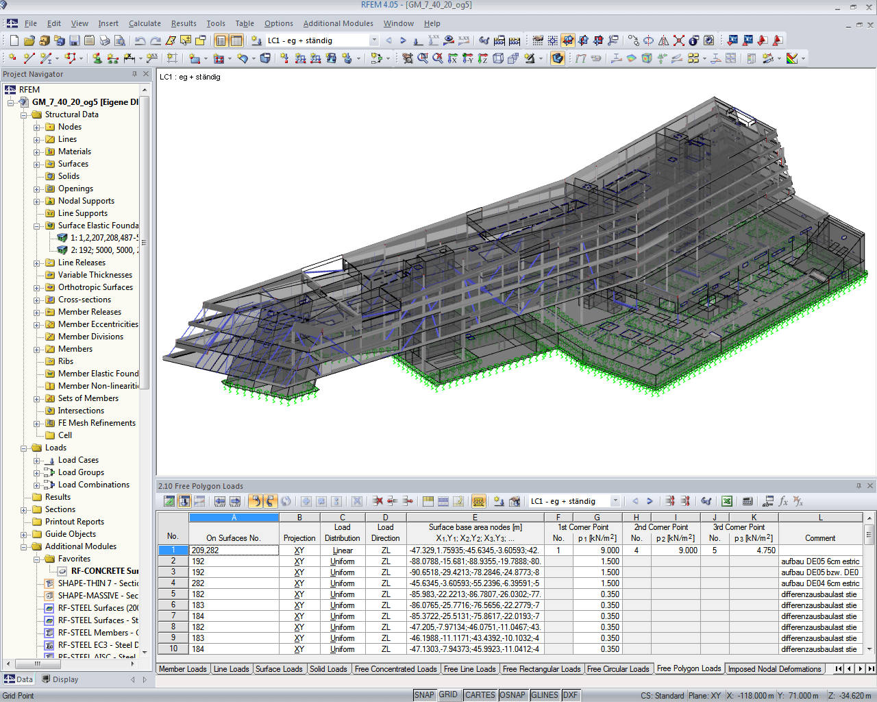 Analysis model for element 1 in RFEM (© Werkraum Wien)