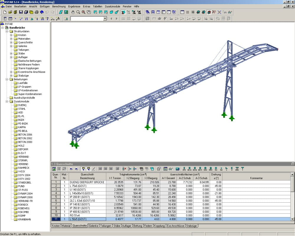 3D model of conveyor bridge in RSTAB (© IB Ehlenz)
