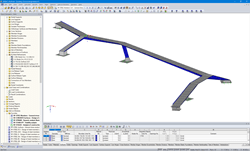 3D Model of the Supporting Structure of Isarsteg in RFEM (© Bergmeister Ingenieure GmbH)