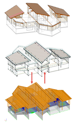 Top: Physical Revit Model, Middle: Analytical Revit Model, Bottom: RFEM Model (© AGA-Bau)