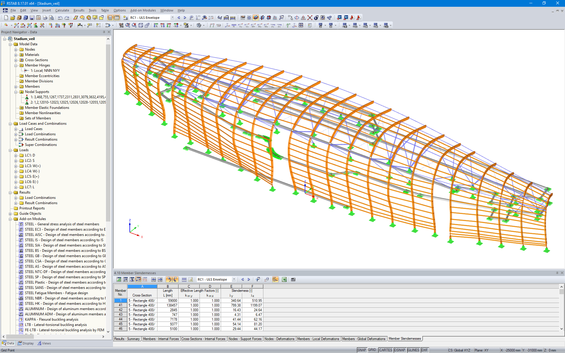 RSTAB Model for the TD Place Stadium Timber Cladding Located in Ottawa, Canada (© Moses Structural Engineers Inc.)