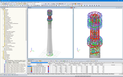 The tower model in the RFEM program (the entire tower on the left, detail of the steel part on the right) (© Allcons sro)