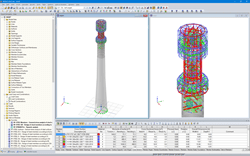 The tower model in the RFEM program (the entire tower on the left, detail of the steel part on the right) (© Allcons s.r.o.)