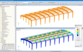 3D model of the roof (top) and design results in RF-TIMBER Pro (bottom) in RFEM (© Rodentia SIA)