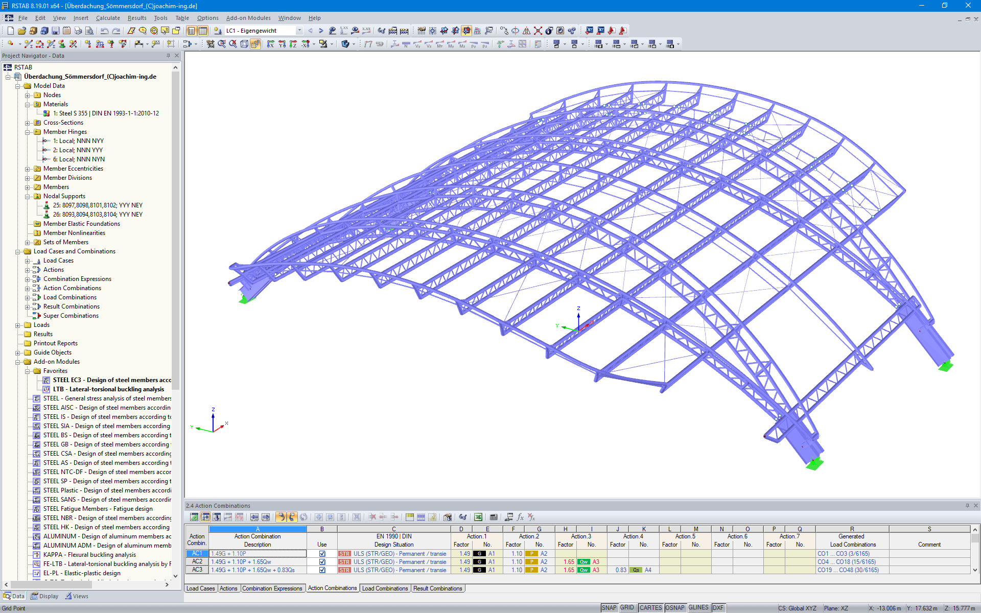 3D Model of Roof Structure in RSTAB (© Joachim Ingenieure)