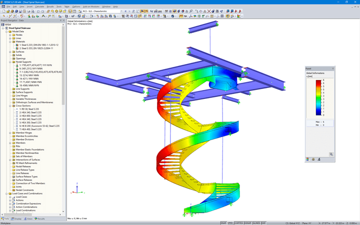 RFEM Model of the Spiral Staircase with Visualized Deformations (© Vic Obdam Staalbouw BV)