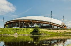 Outdoor Concert Hall Roof on Pasta Island, Jelgava, Latvia (© Rodentia SIA)