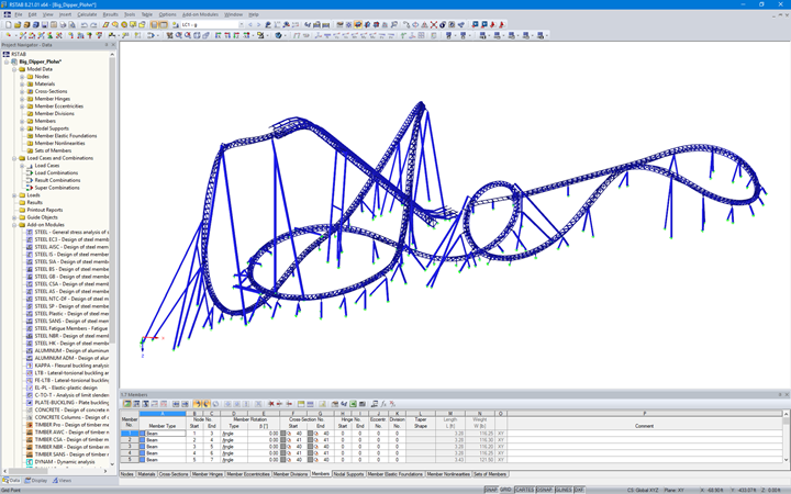 "RSTAB Model of Big Dipper Coaster ""Dynamite"" (© White Consulting Engineers)"