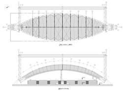 Section of drawing with top view (top) and section through roof (bottom, © FHS Ingeniería Estructural Ltda.)