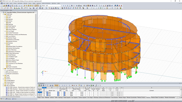 3D model of four-story timber structure in RFEM (© Isenmann Ingenieur GmbH)