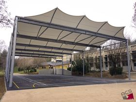 Recreational Area Tension Membrane Structure in Châteauneuf-de-Galaure (© ACS Production)