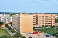 CLT Residential Building in Girona, Spain Under Construction (© Egoin)