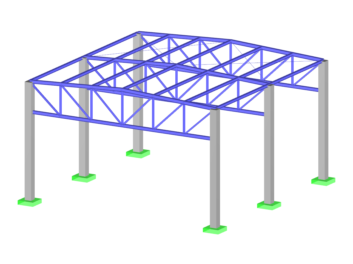 Steel hall with reinforced concrete columns
