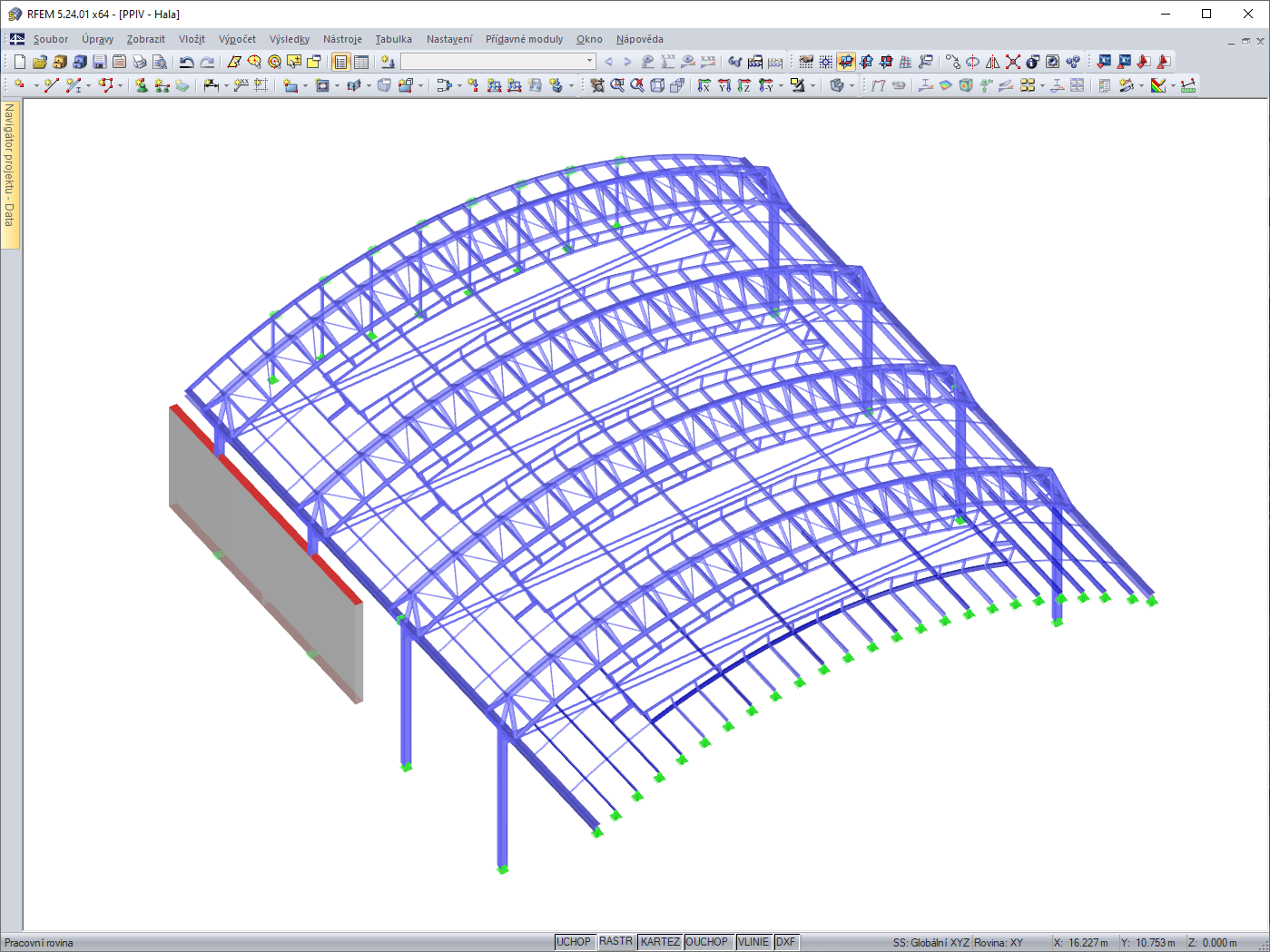 Model hali stalowej w RFEM