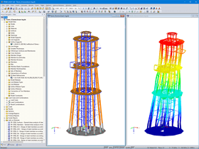 Look-out Tower Model (Left) and Deformation Image (Right) in RFEM (© Ingenieurbüro Braun GmbH & Co. KG)