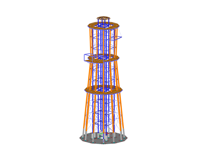 Model of Lookout Tower in RFEM (© Ingenieurbüro Braun GmbH & Co. KG)