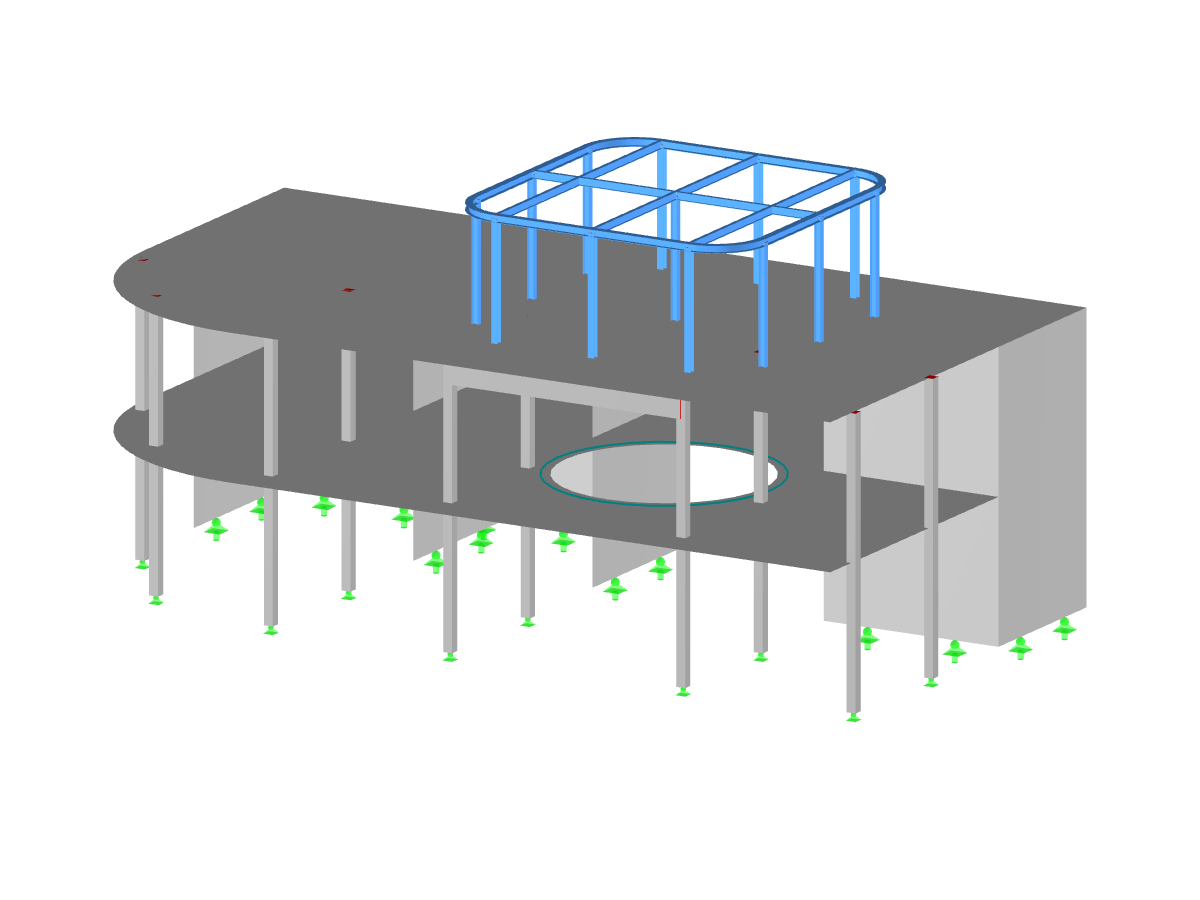 Reinforced concrete building with attached steel structure