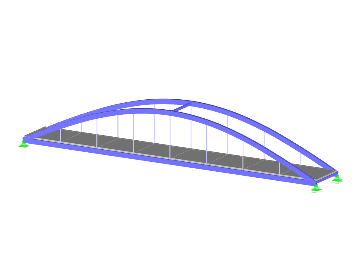 RFEM model of a pedestrian bridge