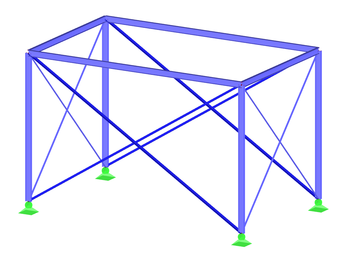 Steel frame with tension members