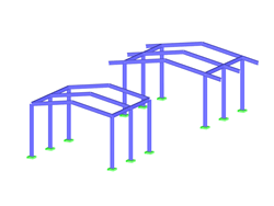 Steel frame structures with and without roof overhang