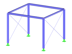 Steel frame structure with bracings