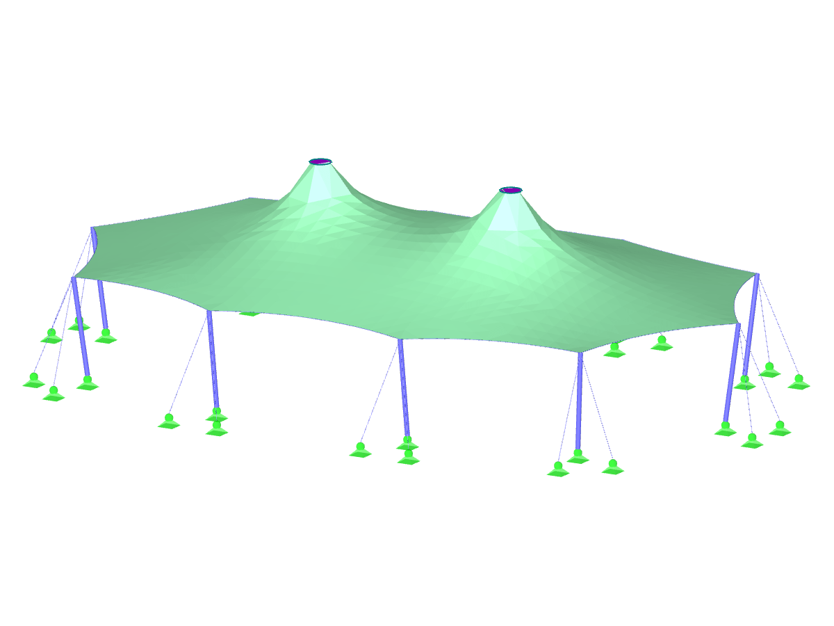 Tent Roof with Two Cone Tips