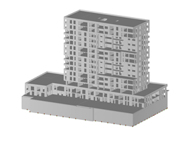 Model of High-Rise Apartment Building in RFEM (© bauart Konstruktions GmbH & Co. KG)