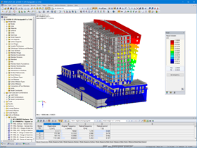 1st Apartment High-Rise Building Mode Shape Calculated in RFEM's RF-DYNAM Pro - Natural Vibrations (© bauart Konstruktions GmbH & Co. KG)