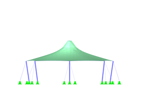 Tent Roof with Two Cone Tips, X-Axis Direction View