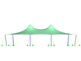 Tent Roof with Two Cone Tips, Y-Axis Direction View