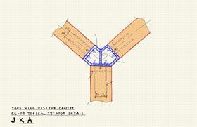 Hand-Drawn Sketch of Y-Shaped Connection (© Jing Kong & Associates Consulting Structural Engineers Inc.)
