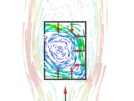 Laterally Open Structure (Case 1, 90°) | Model for Analysis of Flow Behavior on Laterally Open Structures According to DIN 1055-4.