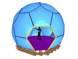 Enclosure in the shape of a soccer ball with pneumatic cushions