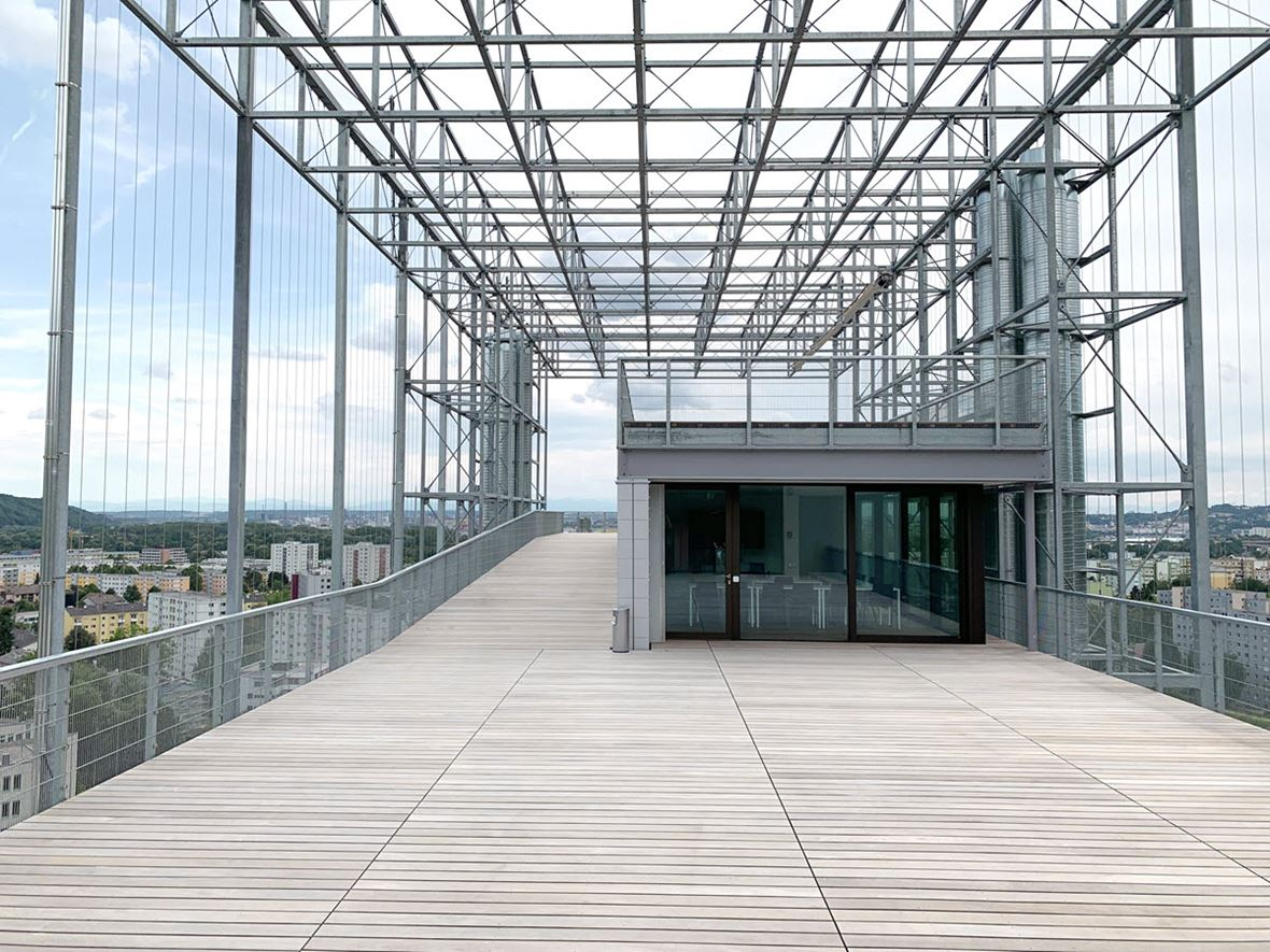 Somnium Roof Terrace with Latticework and Climbing Cables (© Bollinger+Grohmann)